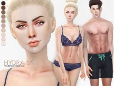 Skintone for male and female sims in 10 colors. Colors can be adapted by choosing different base skintones underneath.  Found in TSR Category 'Sims 4 Skintones'