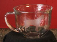 Boxer Dog Etched on Glass Glassware Coffee Mug Cup #Unbranded