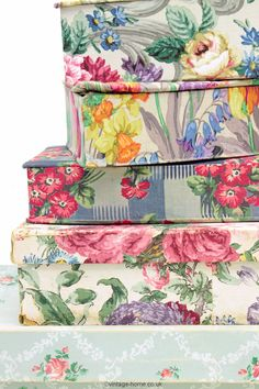 A Collection of our Vintage Fabric and Wallpaper covered Boxes: www.vintage-home.co.uk