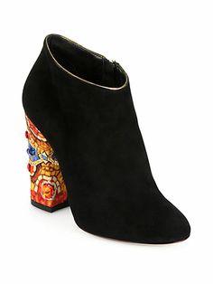 Dolce & Gabbana - Suede Embellished-Heel Ankle Boots