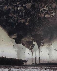 Art by - Is Mirek - polish artist - darkart - surrealism photography - digital art - Skeleton - skull - horror - horrorart Arte Horror, Horror Art, Photomontage, Art Zine, Trippy Painting, Psy Art, Environmental Art, Art Plastique, Skull Art