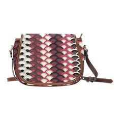 Red Black White Vintage Japanese Pattern Saddle Bag/Small (Model 1649) Full Customization
