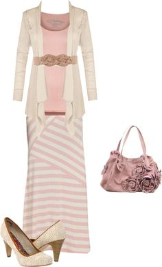 """pink, cream and light tan"" Modest Spring outfit. Dont like shoes Apostolic Fashion, Modest Fashion, Fashion Outfits, Womens Fashion, Apostolic Clothing, Modest Outfits, Skirt Outfits, Mode Collage, Look Formal"