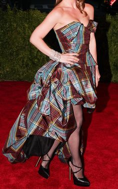 Vivienne Westwood Red Turquoise Silk Tafetta Mcandrew Tartan Corset Top and Skirt £8535