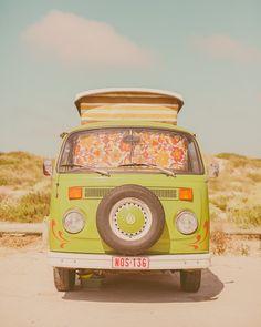 Vintage Style, VW Van Bus Photography, Retro Decor, Wall Decor, Nursery, Mod Style, Retro Style, Road Trip Style, Mint Green Print, Stripes