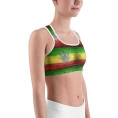 6b5af4a377 All-over-print Sports bra - 420 ganja leafs and flag This gorgeous sports