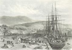 An historic engraving of the Quay at Hobart Town in Tasmania from 1873 by John J. Old Images, Old Photos, Vintage Photos, Van Diemen's Land, Historical Pictures, The Good Old Days, Adventure Travel, Places To Go, Scenery