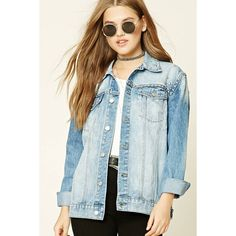 Forever21 Studded Denim Jacket (1,735 INR) ❤ liked on Polyvore featuring outerwear, jackets, long sleeve denim jacket, cotton jean jacket, pocket jacket, studded denim jacket and denim jacket