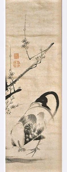 「rooster and plum branch. Itō Jakuchū. Japanese hanging scroll. 鶏図」作家名 伊藤若冲 作品名 「鶏図」 手 法 紙本・墨 備 考 ■画面左上に印「藤女鈞印」「若冲居士」