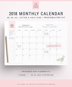 Organization calendar planner products 48 New ideas Monthly Calendar 2018, Blank Calendar, Monthly Planner, Printable Planner, Printables, Calendar Wall, Printable Bookmarks, Making Money On Etsy, Minimal Calendar