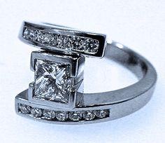 Geometric By-pass, 1 Carat Center, Platinum setting | Robert Young bespoke jewelry | RobertYoung.com