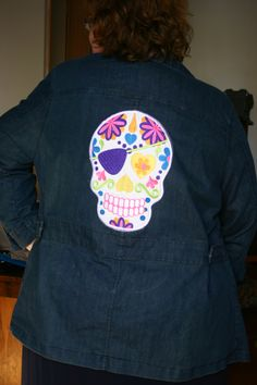 Machine Embroidery Design, Machine Embroidery Ideas - Denim Jacket embroidered with SugarSkull embroidery