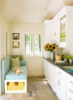 Decorating, Beautiful Small House And Home Decorating Ideas For Very Small Kitchen With Small Compact Kitchen Cabinet Space Saving Backrest Padded Bench With Open Storage Underneath Design Ideas ~ Brilliant House and Home Decorating Ideas Using DIY Themes