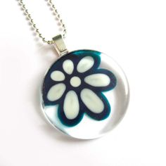 Daisy teal and white pendant  hand painted glass  by azurine, $25.00
