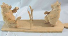 VTG Hand Carved Wooden Toy Bear Figurine Tennis Folk Art Primitive Russia Yaga #babayaga #Russian #folkart #handcarved
