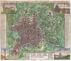 Mappa di Roma di John Senex del 1721