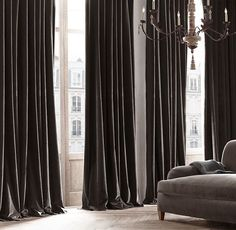 RH's Vintage Velvet Drapery:Woven by JB Martin, a family-owned… Grey Velvet Curtains, Silk Curtains, Brown Curtains, Yellow Curtains, Long Curtains, Curtains Living, Ikea Curtains, Striped Curtains, Double Curtains