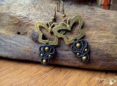 Macrame Earrings Butterfly Boho Gypsy Hippie by MacrameJewelsVili