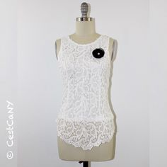 White Crochet Lace Peplum blouse - $30