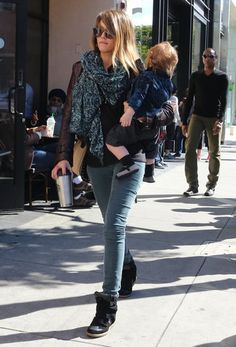 Jessica Alba paired skinny cargos with Isabel Marant wedged sneakers and a print scarf while grabbing a coffee in Beverly Hills.