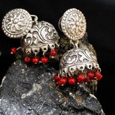 FairyBells Kart Oxidised Metal Jhumkas Earrings FBK201762