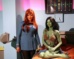 """Star Trek Continues """"Lolani"""" (love this episode! Michele Specht (Counselor Elise McKenna) and Fiona Vroom (Lolani). Star Trek 1, Star Trek Reboot, Star Trek Ships, Star Trek Cosplay, Fiction Movies, Science Fiction, Star Trek Continues, Star Trek Convention, Star Trek Characters"""