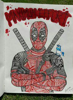 Deadpool maximum effort  #deadpool #badhero #mandala #art #unicorn #fanart #cool #zentangle #deadpoolart #tattoo