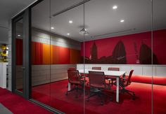 Check out this Meeting room inside Sherwin Williams office in Kuala Lumpur, Malaysia using Haworth's very collection seating. Get a meeting room like this today and call Allstate Office Interiors! Corporate Interiors, Corporate Design, Office Interiors, Corporate Offices, Commercial Interior Design, Office Interior Design, Commercial Interiors, Red Office, Office Decor