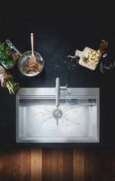 Grohe essence new kjøkkenarmatur m/l-tut, supersteel - MegaFlis.no Kitchen Taps, Kitchen Fixtures, Kitchen And Bath, Kitchen Interior, Modern Interior, Kitchen Design, Modern Room, Modern Bathroom, Kitchen Trends
