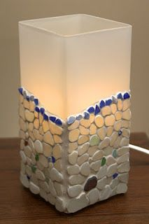 I have this lamp...definitely going to try it with some teal sea glass