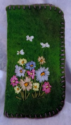 Glass Case - Embroidered - Alpaca Felt by AISLINNPARKALPACAS on Etsy