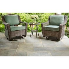 Hampton Bay Spring Haven Grey All-Weather Wicker Patio Swivel Rocker Chair with Bare Cushion-55-20344 - The Home Depot