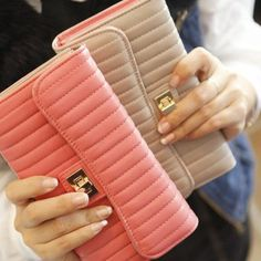 Lock Stitch Long Design Fashionable Women's Wallet