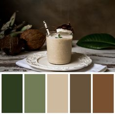 Green colors, coffee mug, warm earthy colors Bedroom Colour Palette, Earthy Color Palette, Color Palate, Bedroom Color Schemes, Apartment Color Schemes, Earthy Colours, Colour Pallette, Green Pallete, Brown Color Schemes