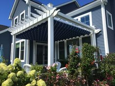 This Beautiful Shoreline Pergola has all the bells & whistles with added canopy & side screens. Operated by Remote controls for the ultimate experience! Vinyl Pergola, Whistles, Screens, Canopy, Remote, Yard, Outdoor Decor, Beautiful, Home Decor