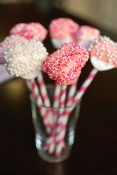Pink marshmallow pops for Valentine's Day