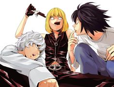 Death Note - Near, Mello, and L. Wow this picture could not be any more awkward.