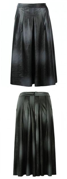 Gray Tie Dye Pu Skater Skirt