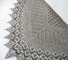 This is a triangular shawl, knitted from the top down.