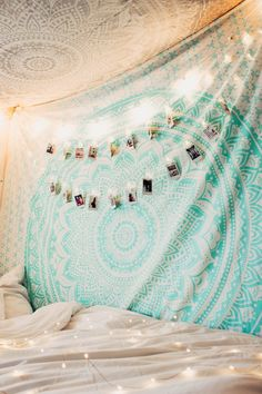 Lady Scorpio | @Ladyscorpio101 ☽☽  ladyscorpio101.com  ☆  Perfect Bedroom Decor for the Hippie at heart  ♡  Alexa Halladay is Boho Bungalow -  Tapestry with Copper Fairy Lights!  Including Moon Phase Wall Hangings!  Mermaid Seafoam green/blue Ocean themed Room      Mermaid Vibes Mandala Tapestry
