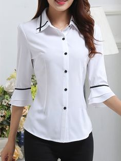 Spring Summer Polyester Women Turn Down Collar Single Breasted Contrast Piping Plain Half Sleeve Blouses Stylish Tops, Casual Tops For Women, Blouses For Women, Blouse Styles, Blouse Designs, Best Plus Size Jeans, Beautiful Dress Designs, Only Shirt, Summer Blouses