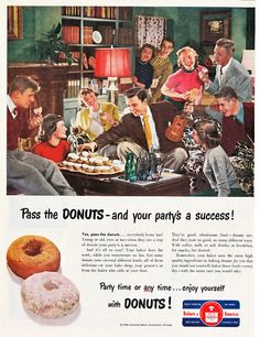 American Bakers Association - 1950    Pass the donuts!    I'm pretty sure those are supposed to be teen-agers, except the woman behind ukelele boy and the man next to her--he looks pretty grey.