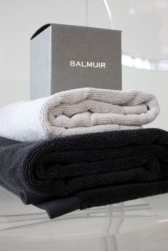 Homevialaura | Timeless and minimal bathroom | Balmuir Lugano towels in light and dark grey