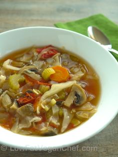 Fat Free Vegan Low Calorie Cabbage Soup Diet Recipe- repinning this cause I made this last night and OMG! I was delicious! Even Stevie liked it. We both thought it would also taste good with chicken. But so yummy just as is.