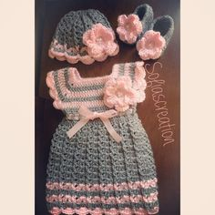 Crochet Newborn Dress set-Dress-Hat Mary Jane by Sofiascreation12