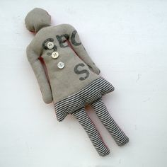 stiksel - she doll no. 9 = recycled textiles (post-bag canvas + screen-print linen + furniture fabric samples) + vintage buttons