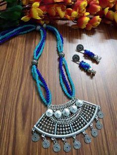 Trendy Jewelry, Diy Jewelry, Jewelery, Jewelry Design, Handmade Jewellery, Jewellery Making, Diy Necklace, Crochet Necklace, Worli Painting