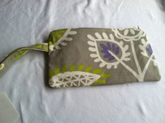 Handmade Gray and Purple Wristlet with by KatiesKraftKitchen, $17.00