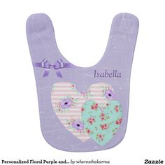 Personalized Floral Purple and Pink Baby Bib