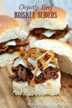 Chipotle Beef Brisket Sliders is an easy recipe to make ahead of time for game day! The caramelized onions, savory sauce, and creamy cheese make this appetizer a scoring recipe. Slow Cooker Recipes, Crockpot Recipes, Cooking Recipes, Diabetic Recipes, Soup Recipes, Party Dips, Slow Cooked Beef Brisket, Cake Candy, Catering